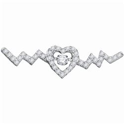 Diamond Twinkle Moving Solitaire Heartbeat Heart Necklace 1/3 Cttw 10kt White Gold