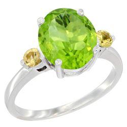 3.02 CTW Peridot & Yellow Sapphire Ring 10K White Gold - REF-28N5Y