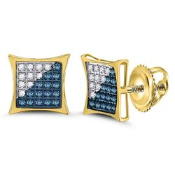 Mens Round Blue Color Enhanced Diamond Square Kite Cluster Earrings 1/6 Cttw 10kt Yellow Gold