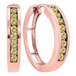 Round Brown Diamond Hoop Earrings 1/2 Cttw 14kt Rose Gold