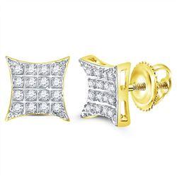 Mens Diamond Kite Square Cluster Stud Earrings 1/10 Cttw 10kt Yellow Gold