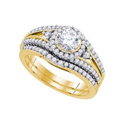 Diamond Split-shank Bridal Wedding Engagement Ring Band Set 1-1/4 Cttw 14kt Yellow Gold