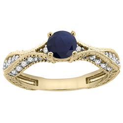 0.85 CTW Blue Sapphire & Diamond Ring 14K Yellow Gold - REF-104W2F