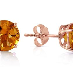Genuine 3.1 ctw Citrine Earrings 14KT Rose Gold - REF-23T9A