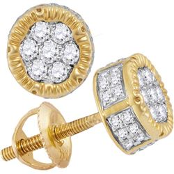 Mens Diamond 3D Circle Cluster Stud Earrings 1/2 Cttw 10kt Yellow Gold