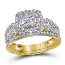 Diamond Double Halo Bridal Wedding Engagement Ring Band Set 1.00 Cttw 14kt Yellow Gold