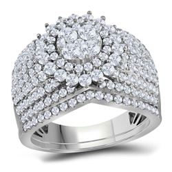 Diamond Cluster Bridal Wedding Engagement Ring Band Set 2.00 Cttw 14kt White Gold