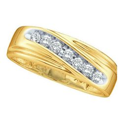 Round Channel-set Diamond Mens Curved 2-tone Wedding Band 1/4 Cttw 10k Yellow Gold