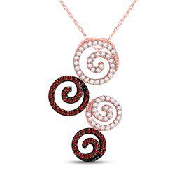 Round Red Color Enhanced Diamond Swirl Circle Pendant 5/8 Cttw 10kt Rose Gold