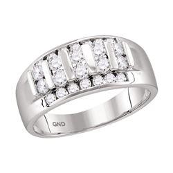 Mens Round Channel-set Diamond Raised Wedding Band 1.00 Cttw 10kt White Gold
