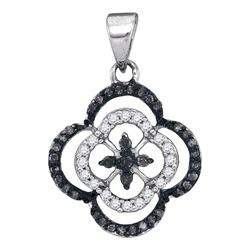 Round Black Color Enhanced Diamond Quatrefoil Cluster Pendant 1/4 Cttw 10kt White Gold