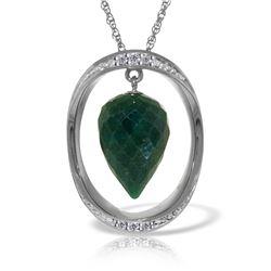 Genuine 13.1 ctw Sapphire & Diamond Necklace 14KT White Gold - REF-122A8K