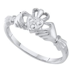 Diamond Claddagh Heart Ring .01 Cttw 10kt White Gold