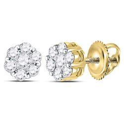 Diamond Flower Cluster Earrings 3/4 Cttw 14kt Yellow Gold