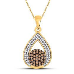Round Brown Diamond Teardrop Cluster Pendant 1/3 Cttw 10kt Yellow Gold