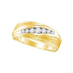 Mens Diamond Wedding Band Ring 3/8 Cttw 10kt Yellow Gold