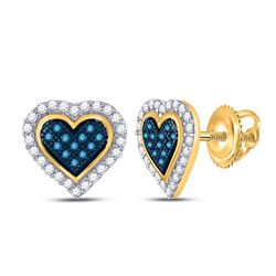 Round Blue Color Enhanced Diamond Heart Stud Earrings 1/4 Cttw 10kt Yellow Gold