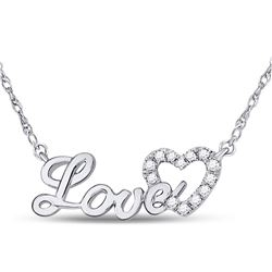 Diamond Love Heart Pendant Necklace 1/6 Cttw 10kt White Gold