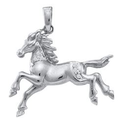 Diamond Horse Mare Animal Large Pendant 1/20 Cttw 10k White Gold
