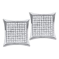 Diamond Square Kite Cluster Stud Earrings 1/10 Cttw 10kt White Gold