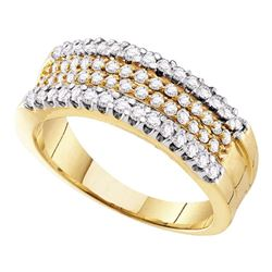 Round Pave-set Diamond Four Row Band Ring 3/4 Cttw 14kt Yellow Gold