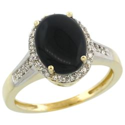 2.60 CTW Onyx & Diamond Ring 14K Yellow Gold - REF-52F7N