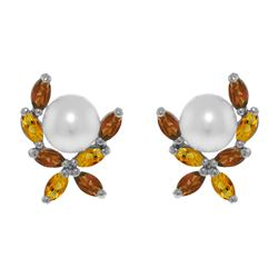 Genuine 3.25 ctw Pearl & Citrine Earrings 14KT White Gold - REF-30P2H