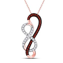 Round Red Color Enhanced Diamond Infinity Heart Pendant 1/6 Cttw 10kt Rose Gold