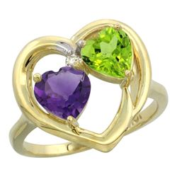 2.61 CTW Diamond, Amethyst & Peridot Ring 10K Yellow Gold - REF-23F7N