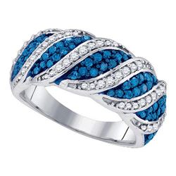 Round Blue Color Enhanced Diamond Cascading Band Ring 3/4 Cttw 10kt White Gold