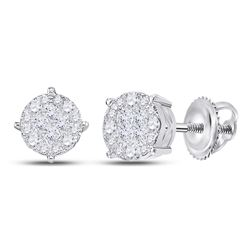 Diamond Fashion Cluster Earrings 1.00 Cttw 14kt White Gold