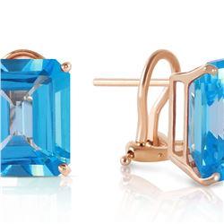Genuine 14 ctw Blue Topaz Earrings 14KT Yellow Gold - REF-54Y5F