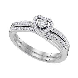 Diamond Heart Bridal Wedding Engagement Ring Band Set 1/4 Cttw 10kt White Gold