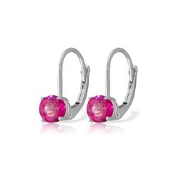 Genuine 1.30 ctw Pink Topaz Earrings 14KT White Gold - REF-23F6Z