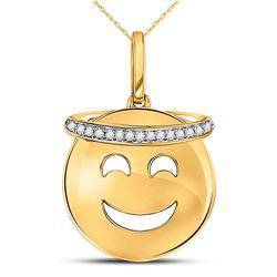 Diamond Smiley Face Halo Emoji Pendant 1/20 Cttw 10kt Yellow Gold