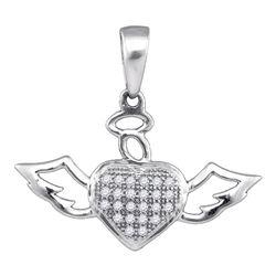 Diamond Heart Angel Pendant 1/10 Cttw 10kt White Gold