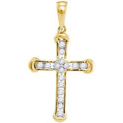 Diamond Roman Cross Religious Pendant 1/5 Cttw 10kt Yellow Gold