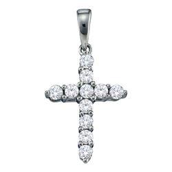Diamond Cross Religious Pendant 1/4 Cttw 14kt White Gold