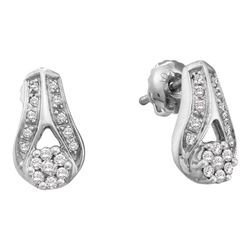 Diamond Flower Cluster Teardrop Earrings 1/4 Cttw 14kt White Gold