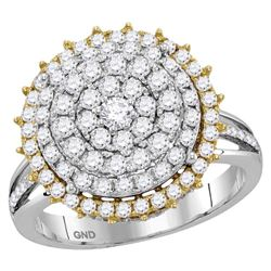Diamond Right Hand Cocktail Ring 1-1/2 Cttw 14kt Two-tone Gold