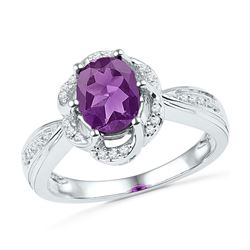 Oval Lab-Created Amethyst Solitaire Diamond-accent Ring 1-3/4 Cttw 10kt White Gold