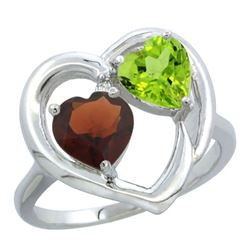 2.61 CTW Diamond, Garnet & Peridot Ring 10K White Gold - REF-23V7R