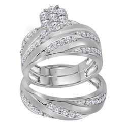 His & Hers Diamond Cluster Matching Bridal Wedding Ring Band Set 1.00 Cttw 10kt White Gold