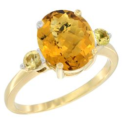 2.64 CTW Quartz & Yellow Sapphire Ring 10K Yellow Gold - REF-23A7X