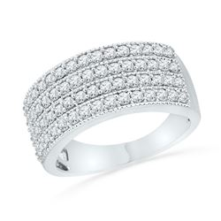 Diamond 4-Row Symmetrical Band Ring 1.00 Cttw 10kt White Gold