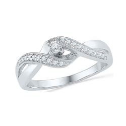 Diamond Solitaire Crossover Twist Promise Bridal Ring 1/5 Cttw 10kt White Gold