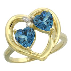 2.60 CTW London Blue Topaz & London Blue Topaz Ring 10K Yellow Gold - REF-24V4R