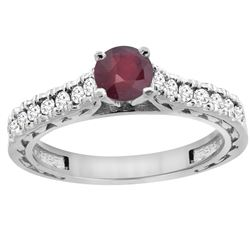 0.90 CTW Ruby & Diamond Ring 14K White Gold - REF-62Y7V