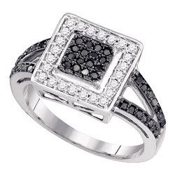 Round Black Color Enhanced Diamond Square Cluster Ring 1/2 Cttw 10kt White Gold