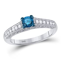 Round Blue Color Enhanced Diamond Milgrain Bridal Wedding Engagement Ring 1/2 Cttw 10kt White Gold